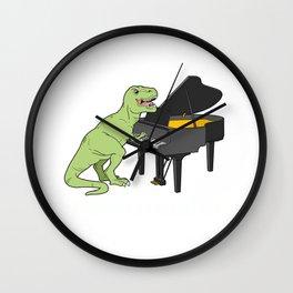 Piano Gift Print Pianist Pianosaurus T Rex Piano Player Tee Wall Clock