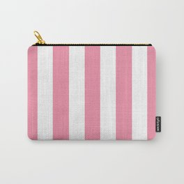 Vanilla ice pink - solid color - white vertical lines pattern Carry-All Pouch