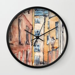 Street in Italy. Watercolor illustration Wall Clock