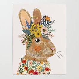 Foral Rabbit Poster