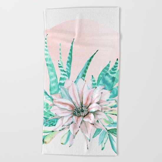 Desert Cactus Succulent Beach Towel