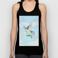 Little Bird Carries Blue Flower Unisex Tank Top
