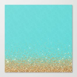 Sparkling gold glitter confetti on aqua teal damask background Canvas Print