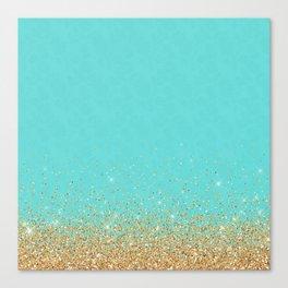 Sparkling gold glitter confetti on aqua teal damask background Canvas Print