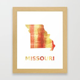 Missouri map outline Red Yellow colorful watercolor texture Framed Art Print