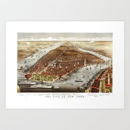 The City of New York by Currier and Ives (1876) Art Print