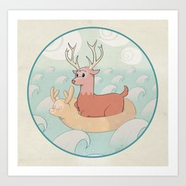 Deer Across the Sea Art Print