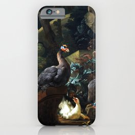 Abraham Busschop Park Landscape with Guinea Fowl, Chicken and Chicks iPhone Case