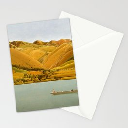 Edge of Abruzzi, Italy; boat with three people on lake by Winifred Knights Stationery Cards