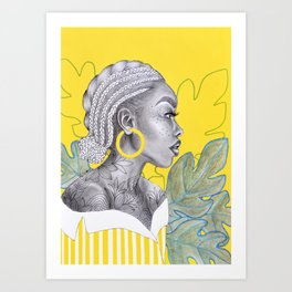 Yellow braided girl Art Print