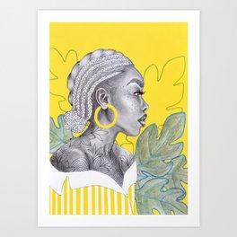 Yellow braided girl Art Print