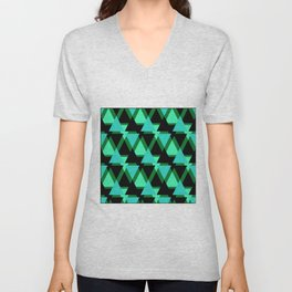 Abstract pattern . The green triangles . Unisex V-Neck