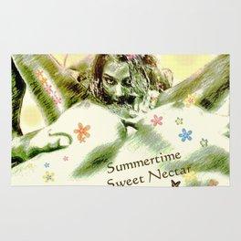 Summertime sweet nectar flower girl collecting pollen Rug