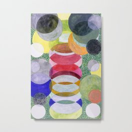 Overlapping Ovals and Circles on Green Dotted Ground Metal Print