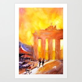 Watercolor painting of silhouette of Brandenburg Gate at sunset in the city of Berlin- Germany, Euro Art Print