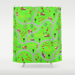 Fireman cute seamless kids pattern bright green Shower Curtain