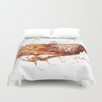 chicken Duvet Covers featuring Chicken by libby's art studio
