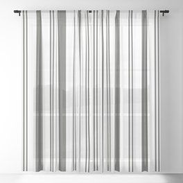 Pantone Pewter Gray & White Wide & Narrow Vertical Lines Stripe Pattern Sheer Curtain