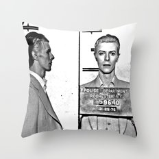 Bowie, David Mugshot (1976) Rochester, N.Y. Throw Pillow