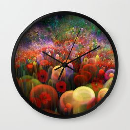 Dreamscape with poppies and orbs Wall Clock