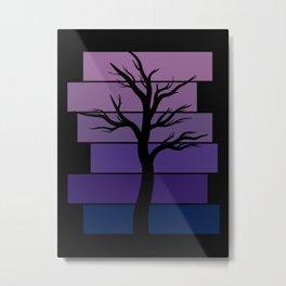 Tree Silhouette (Night Sky) Metal Print