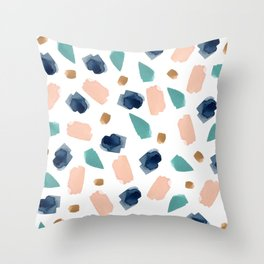 turquoise, navy, pink & gold Throw Pillow