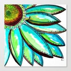 Gerber Daisy Watercolor in Aqua and Green Canvas Print
