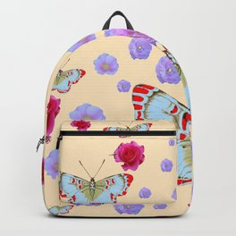 WHITE-RED BUTTERFLIES AMONG FLOATING PINK ROSES Backpack