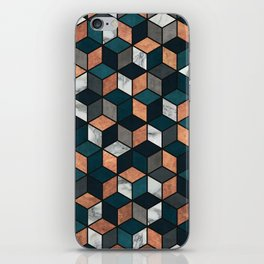 Copper, Marble and Concrete Cubes with Blue iPhone Skin