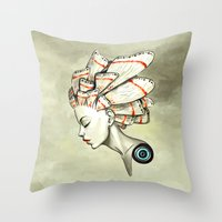 moth Throw Pillows featuring Moth 2 by Freeminds