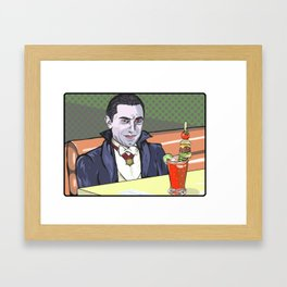 Dracula enjoying a bloody mary at Applebee's. Framed Art Print