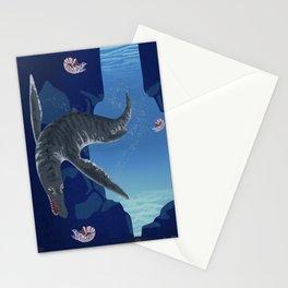 Kronosaurus Nibbling on Nautilus Stationery Cards