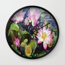 Lotuses Wall Clock