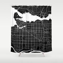 Vancouver - Minimalist City Map Shower Curtain