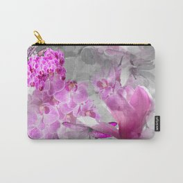 CHERRY BLOSSOMS ORCHIDS AND MAGNOLIA IMPRESSIONS IN PINK GRAY AND WHITE Carry-All Pouch