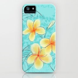 Tropical Turquoise Frangipani iPhone Case