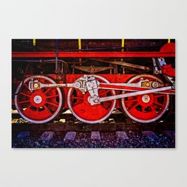 Vintage Steam Train Wheels Canvas Print