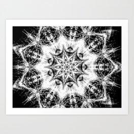 Atomic Black Center Swirl Mandala Art Print