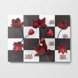 Burnt Crimson Flora Metal Print