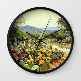 Yellow and Red Cactus Blossoms in the Desert Landscape painting by Robert Julian Onderdonk Wall Clock
