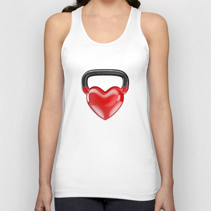 Kettlebell heart vinyl / 3D render of heavy heart shaped kettlebell Unisex Tank Top