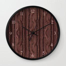 Brown plait jersey cloth texture Wall Clock