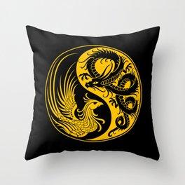 Yellow and Black Dragon Phoenix Yin Yang Throw Pillow