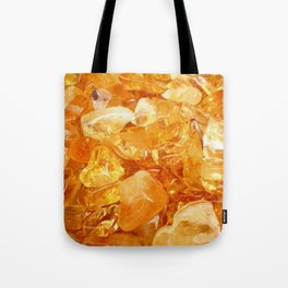 """Amber Quartz Solar Orange Crystal Opal Gem Stone"" Tote Bag"