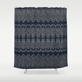Silvery Striped Doodle Shower Curtain