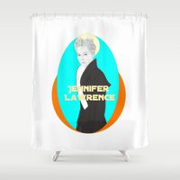 jennifer lawrence Shower Curtains featuring Jennifer Lawrence (Star Wars Concept Art) by Rene Alberto