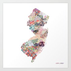 New Jersey map Art Print