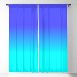 Neon Blue and Bright Neon Aqua Ombré Shade Color Fade Blackout Curtain