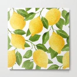Yellow Lemon Watercolor Fruit Metal Print