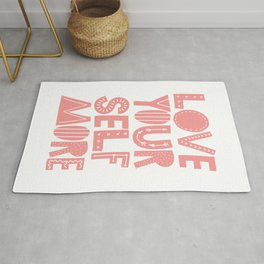 Love Yourself More positive happy words in peach pink typography Rug